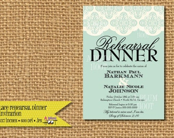 Lace Rehearsal Dinner Invitation (DIY, Printable, Personalized) 5x7