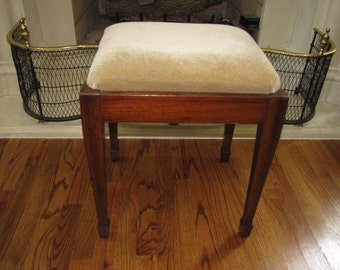 Solid Mahogany Stool with Mohair Velvet Upholstery