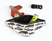 MADE TO ORDER, Toddler Fanny Pack, Car Print, Monochromatic, Block Printed, Adventure Pouch, Toddler Hip Satchel