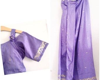 Purple gold clothing set