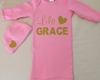 Pink Personalized Infant Gown With Matching Cap