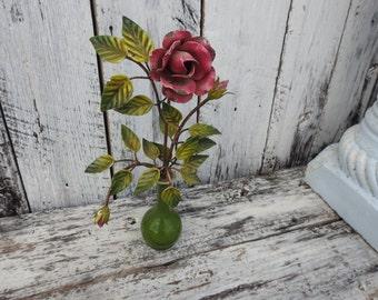 Vintage Tole Rose Roses Planter Vase Pink Painted  Metal  Bud