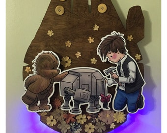 "Original, Signed, Hand Built Wooden 3D Wall Art / Night Light By James Hance - ""I'll Most Likely Lose It Again, Anyway"" (Wookiee the Chew)"