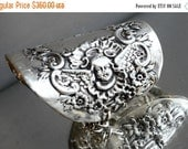 65% OFF SALE Antique Art Nouveau Cherub Angel Solid Sterling Silver 925 .925 Wide Cuff Bangle Bracelet Armlet Silverware Cupid Rare Cherubim