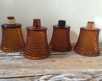 4 Vintage Amber Glass Hobnail Votives, Candleholders