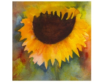 Original Watercolor, Watercolor Flower, Sunflower, Sunflower Watercolor, Floral,Abstract Flower, Yellow Flower, Original Art, Sun Flower