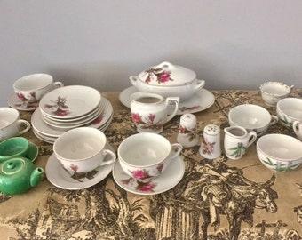 Vintage Miniature Tea Set, Porcelain Toy Size Dishes, Dishes Made in Japan, Doll Tea Set