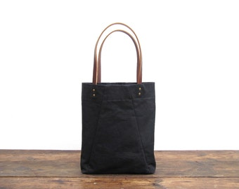 NEW!  Angular Tote in washed black canvas and leather straps. For everyday use.