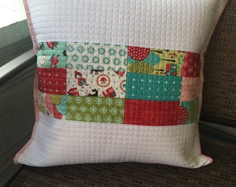 Little Red Quilted Pillow Case