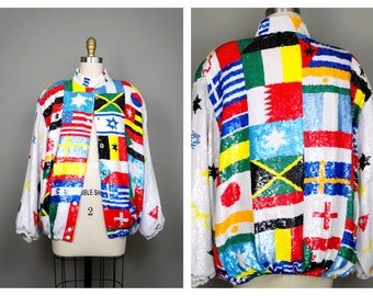 The World of Maps Sequin Jacket / Global Glam Fully Sequined Bomber Jacket by Jeanette St. Martin ..VERY RARE!!!