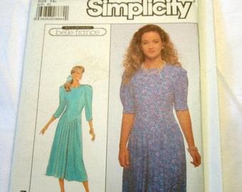 "1980s Drop Waist dress Belle France sewing pattern Simplicity 9091 Size 12 bust 34"" UNCUT FF"