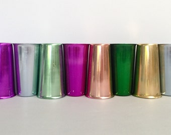 Vintage anodised cups, set of eight- magenta (x2), pale blue (x2), gold, salmon, forest green, mint green