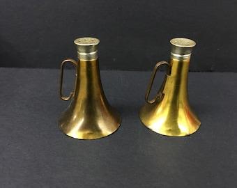 Vintage Brass Megaphone Horn Salt and Pepper Shaker Set Glass