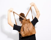 Brown Leather BackPack - Leather backpack women - Backpack purse - Elegant leather Handbag for women - Every Day Purse