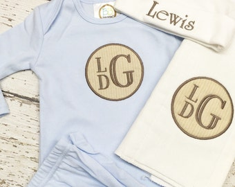 Baby boy gown, Infant boy gown, Boys newborn gown, Infant gown set, monogrammed baby boy gown, Blue Infant Gown set
