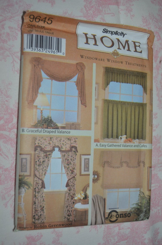 Simplicity 9645 windowware window treatments sewing pattern for Professional window treatment patterns