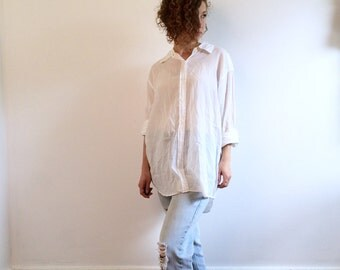 Boyfriend button up etsy for Crisp white cotton shirt