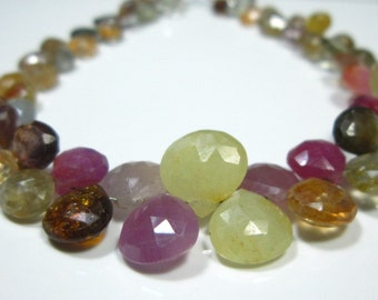 """AA-Multi Sapphire Faceted Heart Briolette- 6.50"""" Strand -Stones measure- 4-8mm"""