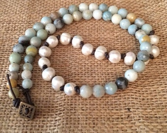 """25"""" Amazonite & Freshwater Pearl Necklace on Leather Cord"""