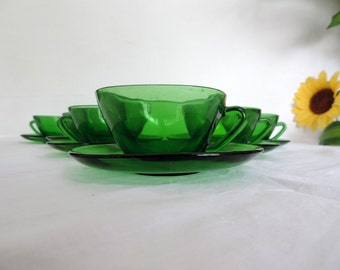 Vereco large square, green glass, coffee cups, cafe au lait cups, tea cups, set of 6