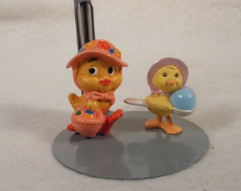 Vintage-1980-Hard Rubber-Yellow Chicken With Basket Of Eggs--Baby Chick-With Egg In A Spoon