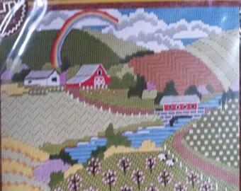 Vintage Never Opened Springtime Sampler Sunset Needlepoint Designer by Sally Shupe 1978 Stitchery Kit
