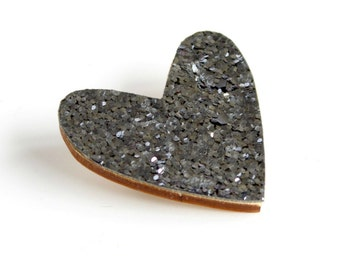 Silver Grey Glitter Heart Pin, Glitter Heart Brooch, Wooden Love Heart Brooch Pin, Valentines pin