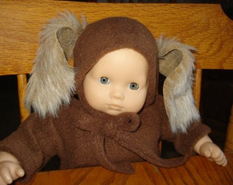 Puppy dog brown Snuggle Sleeper and Hat for  15 inch Baby Doll