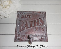 SALE READY to SHIP / Gray Patina / Cast Iron / Bath Wall Hook / Bath Towel Rack / Robe Hook / Shabby Chic / Bathroom Fixture / Beach Cottage
