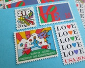 Peter Max Cosmic Jumper Leads a Colorful Parade  ... Unused Vintage Postage Stamps ... Enough to Mail 5 letters