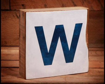"Chicago Cubs ""W"" Win Sign Reclaimed Wood Block"