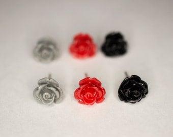 Red, Black, & Gray Rose Earring Set