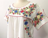 Embroidered Mexican Blouse Cotton Top In White, Boho Blouse, Hippie Top Bohemian Style
