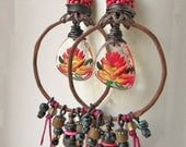 RESERVED for MARY - A Last Fiesta - rustic hoop earrings in hot pink with vintage flowers; grungy primitive assemblage mixed-media earrings