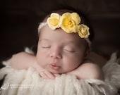 FREE SHIPPING! Yellow Tieback Headband, Yellow Newborn Headband, Yellow Headbands, Tieback Headbands, Newborn Headbands