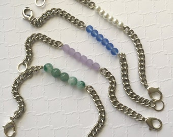 Beaded Silver Chain Bracelet. Seaglass Chain Bracelet. Pearl Chain Bracelet.