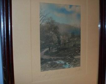 Antique Framed Print Signed Spring Pastoral Signed Villae