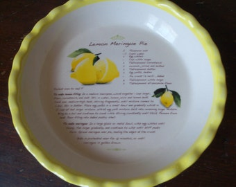 Vintage Lemon Meringue Pie Plate Recipe Dish Yellow Kitchen Cooking Display