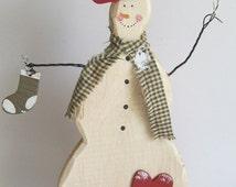 SALE Prim Snowman Wooden Snowman Primitive Snowman Decor Primitive Christmas Decor