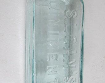 SALE old Bottle Sloan Liniment Bottle Antique Pharmacy Bottle Druggist Bottle Apothacary Bottle Antique Aqua Blue Bottle Made in USA