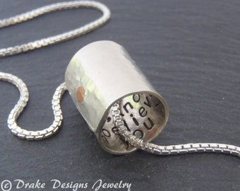 Personalized Necklace with secret message birthday gift for her or for him inspirational gift