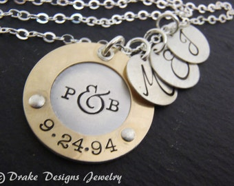 Personalized mothers day from husband initial gifts for wife hand stamped custom Mothers necklace mom gift