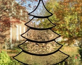 Stained Glass Christmas Tree Ornament - Suncatcher - Clear Glass - Holiday Decor - Christmas Gift - Stocking Stuffer