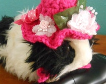 Guinea Pig Easter Bonnet, Tiny Fancy Crocheted Pink Hat With Flowers For Guinea Pigs
