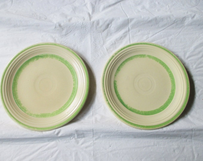 "2 Vintage HLC FIESTA 7-3/8"" Salad Plates, Ivory with Green Bands / Trim (Rare, ca. 1940s)"