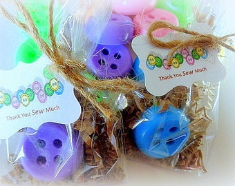 10 Button Soap Favors, Cute as a Button, Sewing, Special Occasions, Thank You Favors, Set of 10 Complete