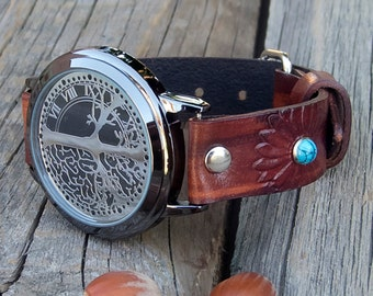 Women's leather watch, Tree of life wrist watch, Touch LED Watch, Mediterranean watch