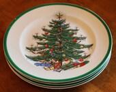 "Plummer (NY) China ""Christmas Tree"" Pattern Set of Four Salad Plates"