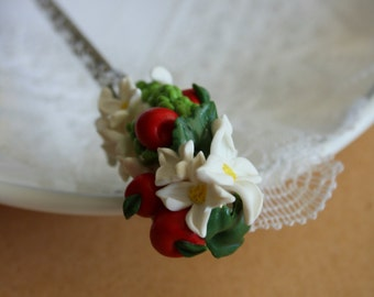 Hair pin with fruits and flowers - polymerclay jewelry