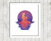 Disney The Little Mermaid Watercolor Silhouette | Digital Print